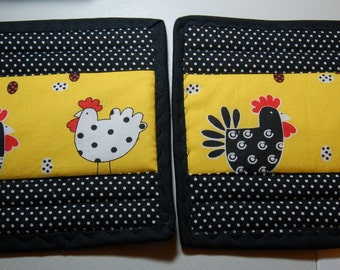 Handmade Quilted Rooster, Chicken Potholders, set of two