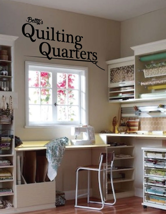 Quilting Room Wall Decor : Personalized wall decal quilting quarters quote by