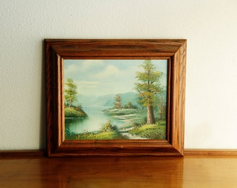 Vintage Painting - Mountain Lake / Forest scene by R. Peterson