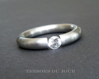 Unique ENGAGEMENT RING Modern Tension Ring 14k 18k Gold or Platinum Custom Engagement Ring Conflict Free Diamond Minimalist Engagement Ring