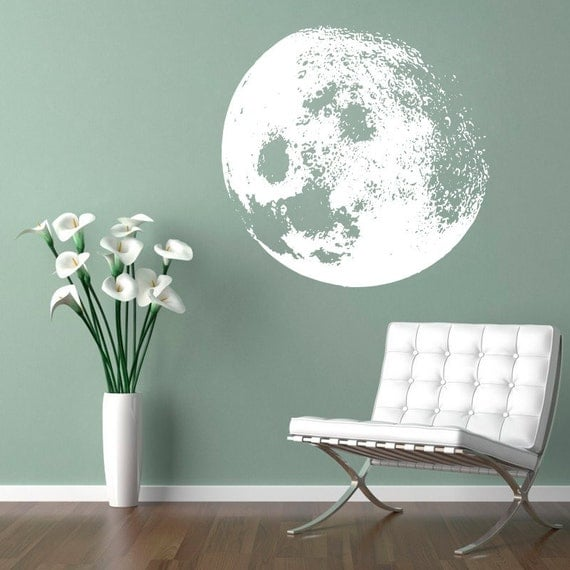 moon decal moon home decor sticker customize moon color. Black Bedroom Furniture Sets. Home Design Ideas
