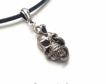 Silver Snake Skull Necklace - Silver Skull Necklace - Halloween Necklace - Day of the Dead Necklace - Halloween Jewelry - Epsteam