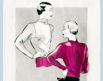 1930s 30s Vogue Vintage Sewing Pattern Art Deco blouse bust 36 repro reproduction kimono sleeve