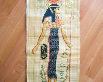 """Huge Handmade Papyrus Egyptian Queen_HATHOR_Goddess of Love_32""""x12"""" Inches"""