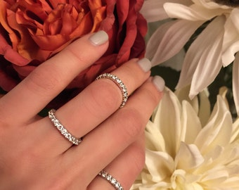 The Eternity Band | Silver Tone | Pair this delicate eternity band with any silver engagement ring for added brilliance or stack them!