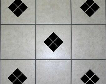 18 X Diamond Square Tile Transfers Decals | Wall Art Stickers | Bathroom  Shower Bath Adhesive