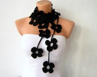 Black Flower Scarf Hand Crochet Lariat Scarf