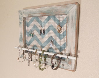Wall Jewelry Organizer, Jewelry Organizer, Jewelry Display, Necklace Holder, Necklace Organizer - Chevron Blue Pattern