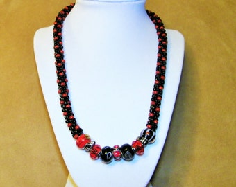 Seed Bead Kumihimo Necklace Beaded Kumihimo Jewelry with Pandora Style Beads Gift-Red and Black