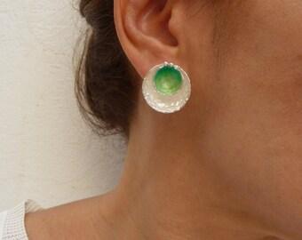 Green Bowl Earring, Sterling Silver Earrings, Handmade Jewelry, Enamel  Earrings, Fashion Jewellery, Contemporary Jewellery,  Enamel Jewelry
