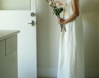 LINEN WEDDING DRESS / long / full length / vanilla white / women / spring wedding / maxi / bridesmaid dress / made in australia / pamelatang
