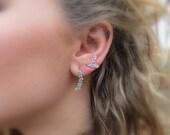 Big Oak Branch Ear Climber Earrings Sterling Silver Leaf Earring Ear Cuff Earrings Silver Leaf Drop Earrings ready to Ship