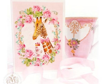 Giraffe card, birthday card, High tea, Anthropomorphic, tea party card, pink card, animal card, baby girl card, card for her, card for girl