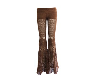 Made to Order - Lace Bell Bottoms in Bronze Peacock - Handmade Crochet Cotton Lace Pants / Flared Leggings - Free US Shipping