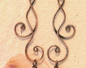 Curly Copper Earrings with Purple Czech Glass Bead dangles French Hook Copper Jewelry