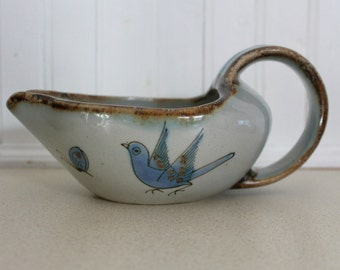 vintage 1970s ceramic gravy boat / spoon holder / 70s pottery bowl
