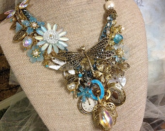 Statement Necklace, Handcrafted,Layered Crystal Necklace, Bib Necklace, Bohemian Bib, Dragonfly Necklace,