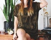 Back In Stoke - Olive Cactus - Big Tee tunic dress, hand printed tshirt dress, oversized tshirt, tshirt dress - by Simka Sol®