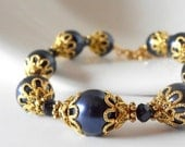 Navy Blue Bridesmaid Jewelry Sets Navy Pearl Bracelet Wedding Jewelry Beaded Bracelet Bridesmaids Gifts Navy and Gold Swarovski Elements