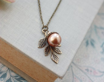 Rose Gold Acorn Pearl Leaf Necklace. Large Pearl. Rustic Nature Inspired. Bridesmaids Gifts. Leaf Jewelry, Oak Leaf Necklace, Woodland Oak