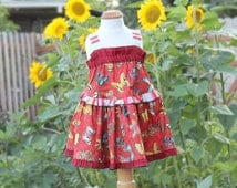 Baby to Tween Matching Sister Dresses Girl Size 3 6 9 12 18 24 month 2T 3T 4 5 6 7 8 10 12 14 Big Little Sister Matching Red Butterfly Dress