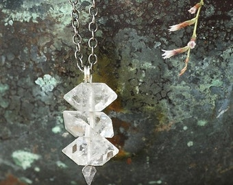 Trinity - Herkimer Diamond Pendant Necklace - Raw Quartz Crystal and Thorn Pendant by Prairieoats