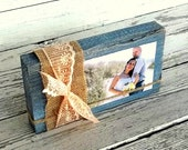 Farmhouse Decor Rustic Wood Block Photo Frame, Farmhouse Chic Table Decor Blue Grey cottage Decor Shabby Burlap and Lace Custom Color