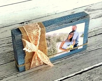 Rustic Wood Block Photo Frame, Wood Block Table Sign, Wedding Table Centerpiece, Blue Grey Shabby Burlap Decor, Burlap and Lace Custom Color