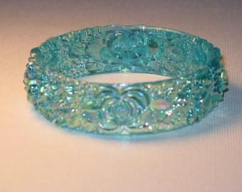 Vintage Blue Iridescent Floral Bangle Bracelet (BR-1-1)