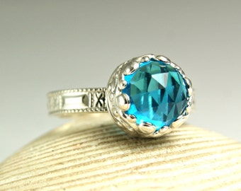 Swiss Blue Quartz Ring, Sterling Silver Blue Gemstone Ring, Crown Setting, Princess Ring