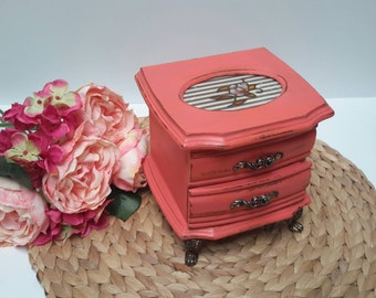 Adorable Electric Coral Shabby Chic Jewelry Box