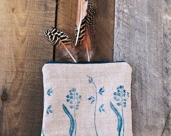SALE! linen pouch hand printed purse bag