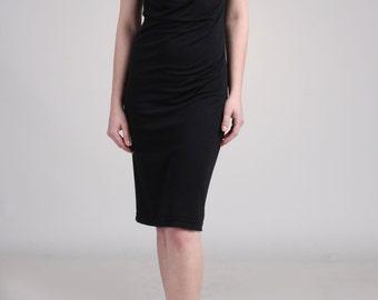 Drape Neck Dress - Black