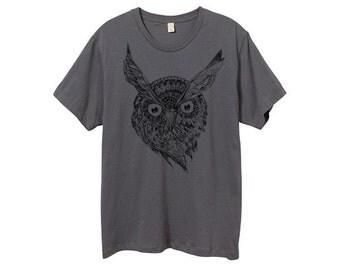 Mens Night Owl Shirt - Custom Color Tshirt - Gray Owl Shirt - Small, Medium, Large, XL, 2XL, 3XL - Guys Owl Shirt (14 Color Options)