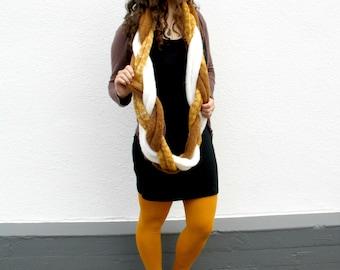Braided Infinity Scarf, Tri-color Cowl Scarf, Loop Cowl Braid, Luxury Women's Fashion, Warm Winter Fashion - Mustard Yellow, White, Brown
