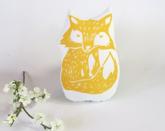 Plush Fox Pillow in Yellow. Woodblock Printed. Choose Any Color. Made to Order.