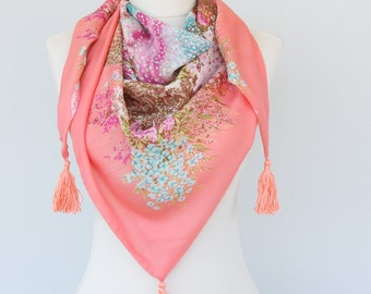 Bohemian scarf tassel scarf coral pink summer scarves spring scarf triangle scarf floral scarf boho accessories gift for her mothers day