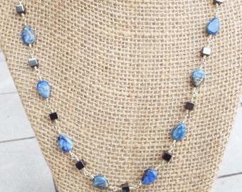 Denim Lapis & Hematite Necklace