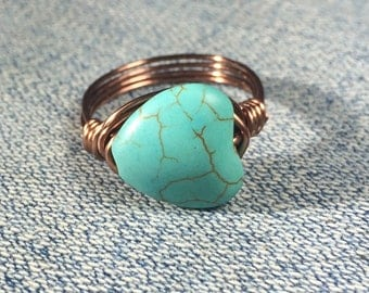 size 10.25 , 10 1/4 - turquoise heart stone wire wrapped ring - antique copper blue gemstone wrap - rustic country southwestern - love