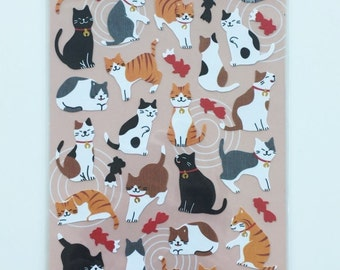 Cat & Goldfish paper stickers - 1 Sheets SS419