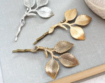 Gold Branch Bobby Pins Rose Leaf Hair Pin Bridesmaid Gift Gold Leaf Bobbies Rustic Nature Woodland Wedding Leaves for Hair Grecian Hair Clip