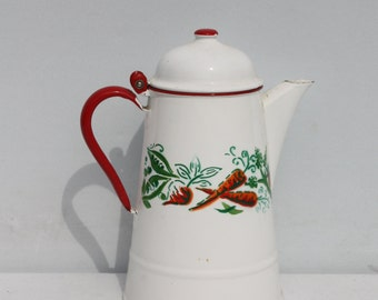 Vintage Enamel Coffee Pot Poland Red And White Stenciled Vegetable Design Farmhouse Country Kitchen Decor
