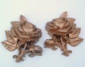 Vintage Homco Roses Wall Plaques / Plastic Gold Roses / Wall Hangings Set of 2