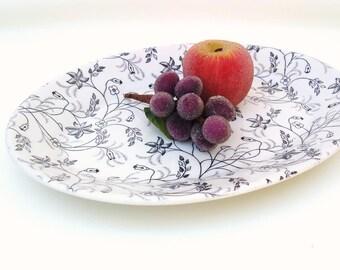 Vintage Decorative Platter / Serving Platter / Ironstone Oval Tray / Black White Wellsville Restaurant Ware