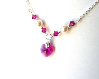 Girls Hot Pink Necklace, Fuchsia Necklace, Crystal Necklace, Heart Necklace, Childrens Jewelry, Kids Necklace, Gift for Tween Girl