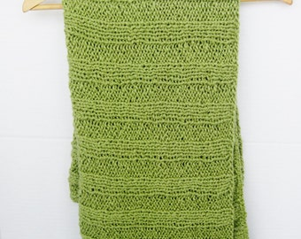 Organic cotton hand knitted baby blanket kiwi green
