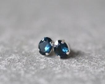 Navy Blue Stud Earrings Swarovski Crystal 8mm Oval Petite Studs Super Sparklers Small RARE Vintage Classic Navy Wedding Earrings Mashugana