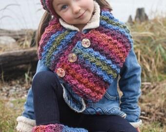 Crochet Scarf Pattern: 'Button Wrap Scarf with Headband & Boot Cuffs, Child-Women, Easy Crochet