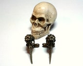 Raven Skull Cuff Links men's skulls cufflinks steampunk accessories rocker ravens