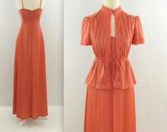 Australian Sunset Maxi Dress - Vintage 1970s Sleeveless Disco Dress w/ Jacket in Terracotta - Small by Algo